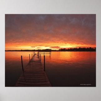 Dock at sunset on Lake Minnetonka,MN. Poster