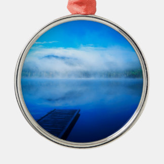 Dock on calm misty lake, California Metal Ornament