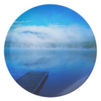 Dock on calm misty lake, California Plate