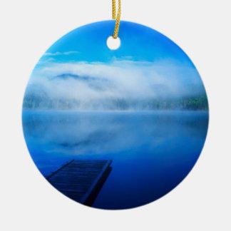 Dock on calm misty lake, California Round Ceramic Decoration