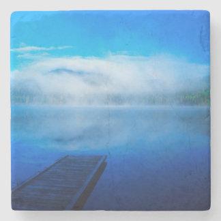 Dock on calm misty lake, California Stone Coaster