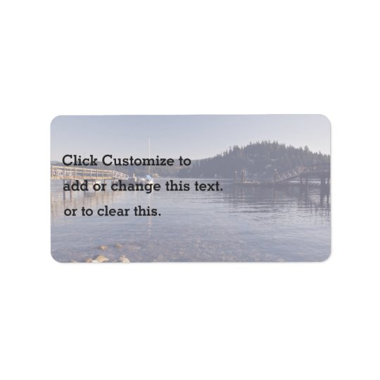 Dock Themed, A Picture Of A Shallow Lake With Wood Label