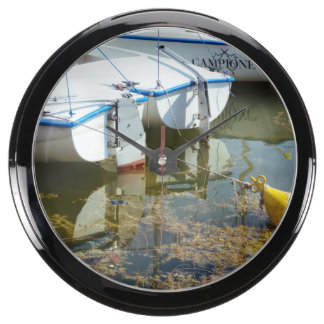 Docked Boats In Water Nautical Photography Fish Tank Clock