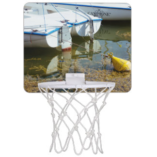 Docked Boats In Water Nautical Photography Mini Basketball Backboard