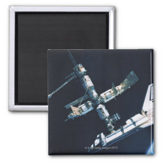 Docked Space Shuttle 2 Square Magnet