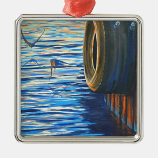 Dockside Swallows Metal Ornament