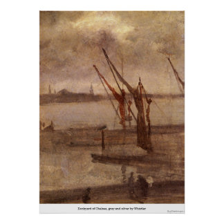 Dockyard of Chelsea, grey and silver by Whistler Print