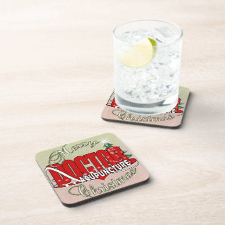DOCTOR ACUPUNCTURE MERRY CHRISTMAS BEVERAGE COASTER