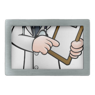 Doctor Cartoon Character Holding Clip Board Belt Buckle