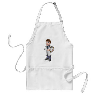 Doctor Cartoon Character Holding Clip Board Standard Apron