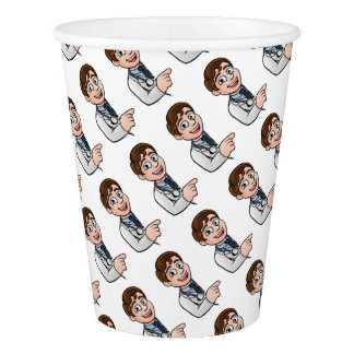 Doctor Cartoon Character Pointing Sign Paper Cup