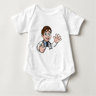 Doctor Cartoon Character Sign Thumbs Up Baby Bodysuit