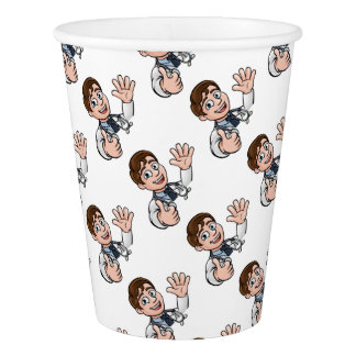Doctor Cartoon Character Sign Thumbs Up Paper Cup