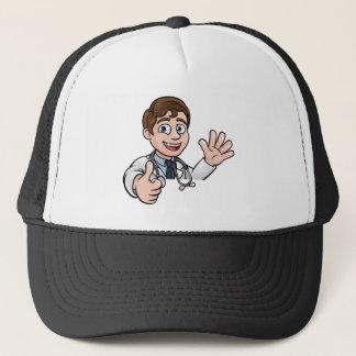 Doctor Cartoon Character Sign Thumbs Up Trucker Hat
