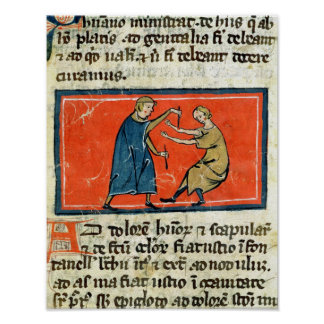 Doctor cauterising a wound with fire poster