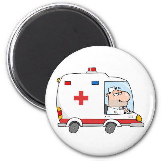 Doctor Driving Ambulance 6 Cm Round Magnet