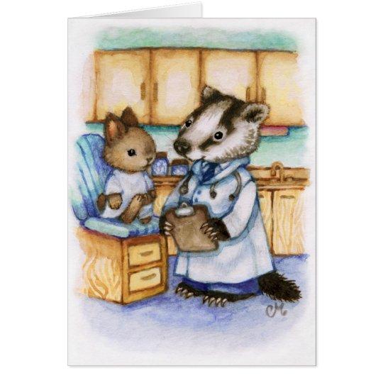 Doctor Get Well Soon Animal Art Cute Card