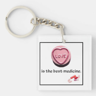 doctor gift love is the best Single-Sided square acrylic key ring