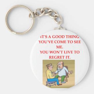doctor joke basic round button key ring