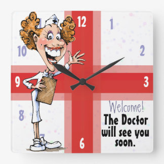 Doctor. Medical Office. Happy Nurse. Customizable Square Wall Clock