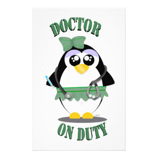 Doctor on Duty Penguin (female) Personalised Stationery