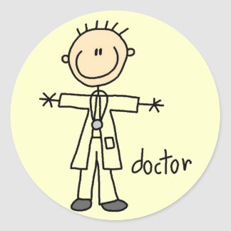 Doctor Stick Figure Round Sticker