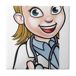 Doctor Thumbs Up Cartoon Character Sign Ceramic Tile