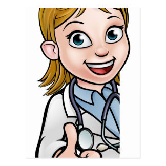 Doctor Thumbs Up Cartoon Character Sign Postcard