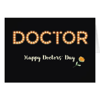 Doctors' Day Marquee Light Bulb Letters, Orange Fl Card