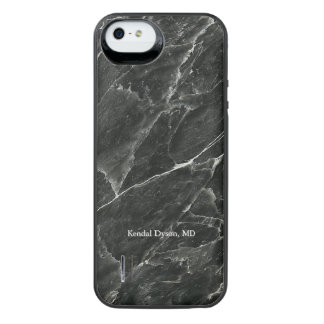 Doctor's Personalised Black Marble iPhone SE/5/5s Battery Case