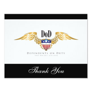 """DOD (Dependents on Duty) wings Customize 4.25"""" X 5.5"""" Invitation Card"""