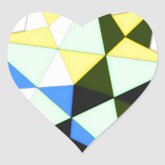 Dodecahedron pop art heart sticker