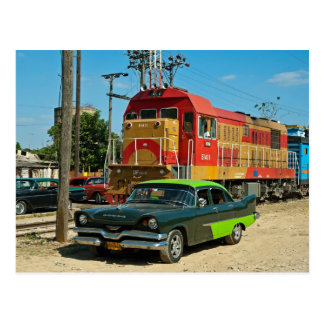 Dodge and diesel locomotive postcard