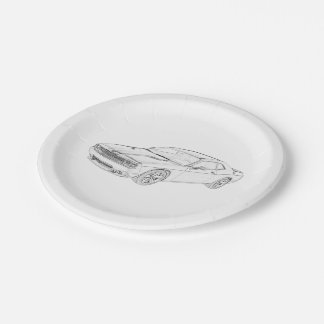 Dodge Challenger Muscle Car Pencil Style Drawing Paper Plate