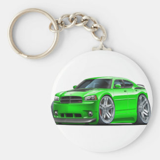 Dodge Charger Daytona Green Car Basic Round Button Key Ring