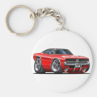 Dodge Charger Red Car Basic Round Button Key Ring