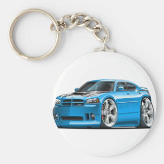 Dodge Charger Super Bee Blue Car Basic Round Button Key Ring