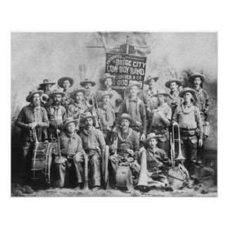 Dodge City Cow-Boy Band with Instruments Print