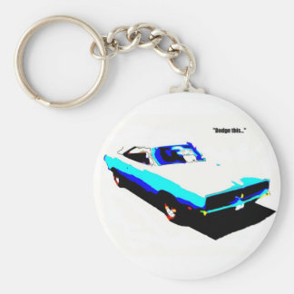 Dodge This Basic Round Button Key Ring