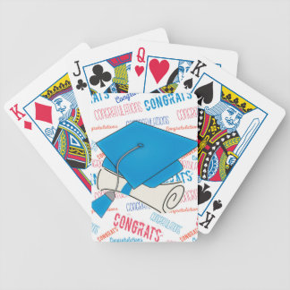 Dodger Blue Graduation Cap and Diploma Bicycle Playing Cards