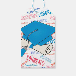 Dodger Blue Graduation Cap and Diploma Gift Tags