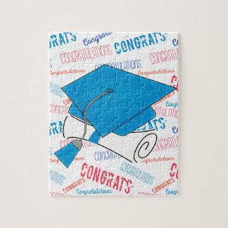 Dodger Blue Graduation Cap and Diploma Jigsaw Puzzle