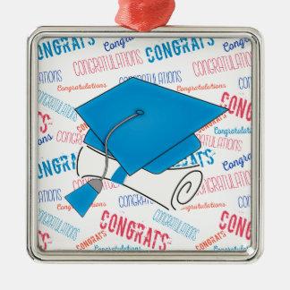 Dodger Blue Graduation Cap and Diploma Silver-Colored Square Decoration