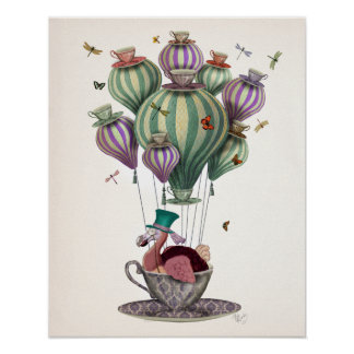 Dodo Balloon with Dragonflies Poster