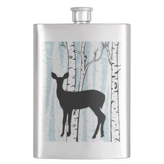 Doe a Deer in Birch Forest on Blue Flask