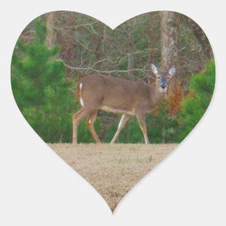 Doe a Deer Pine Trees Heart Stickers