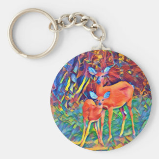 Doe and Fawn Basic Round Button Key Ring