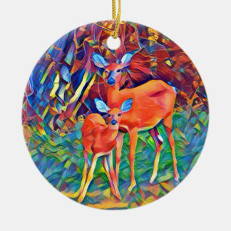 Doe and Fawn Ceramic Ornament