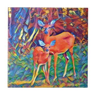 Doe and Fawn Ceramic Tile