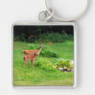 Doe and Fawn in Backyard Silver-Colored Square Key Ring